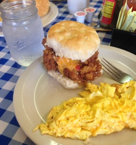 H&H's Supreme Chicken Biscuit with pimento cheese and bacon jam